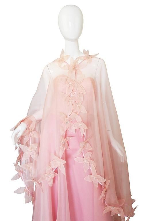 Dramatic 1975 Loris Azzaro Couture Pink Silk Gown & Cape 6