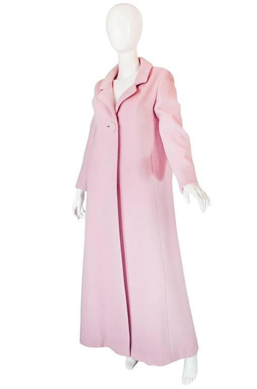 1960s Early Anne Klein Supermodel Length Pink Wool Coat 2