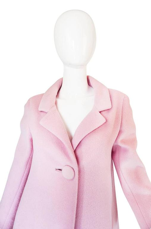 1960s Early Anne Klein Supermodel Length Pink Wool Coat 3
