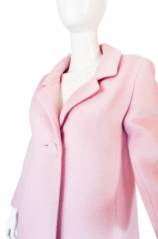 Women's 1960s Early Anne Klein Supermodel Length Pink Wool Coat For Sale