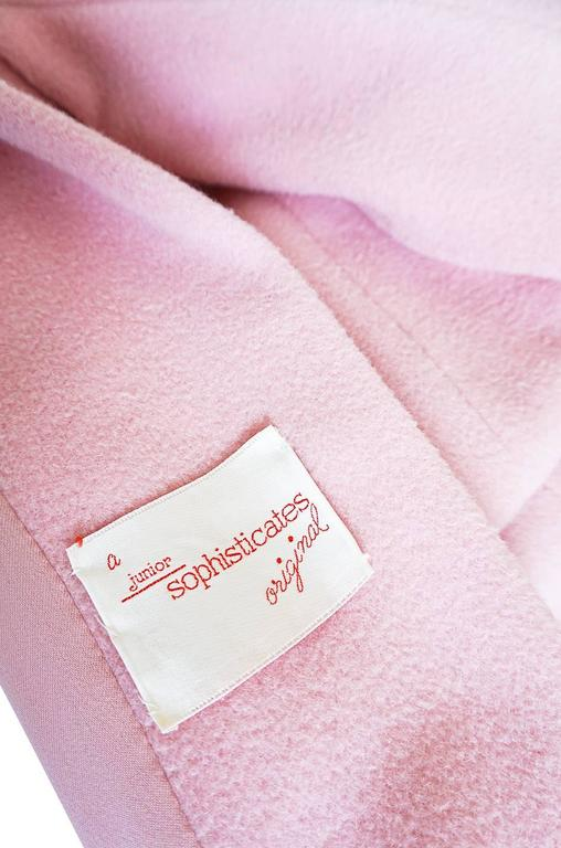 1960s Early Anne Klein Supermodel Length Pink Wool Coat For Sale 1