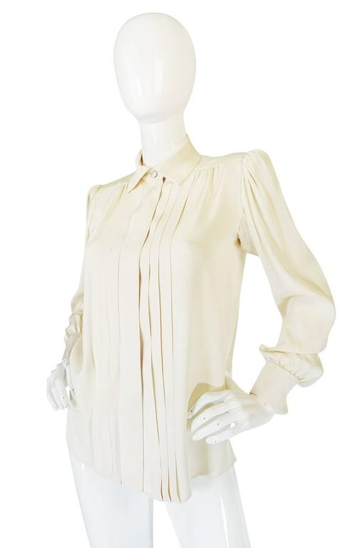 White c.1979 Haute Couture Cream Silk Yves Saint Laurent Top For Sale