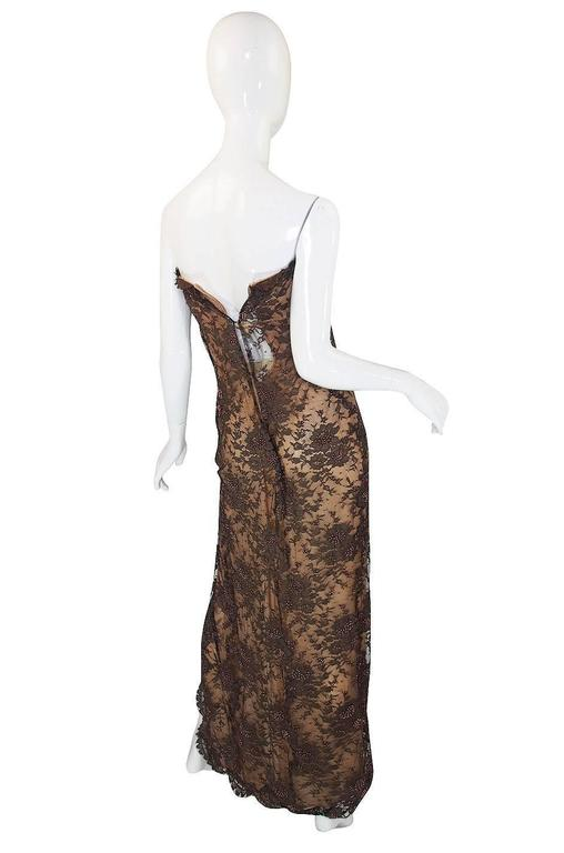 1980s Beaded Lace & Silk John Anthony Strapless Dress 2