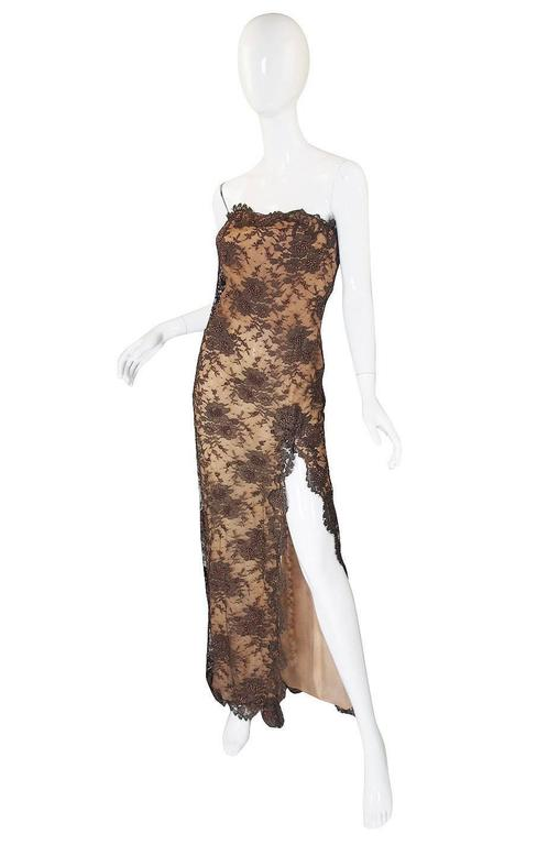1980s Beaded Lace & Silk John Anthony Strapless Dress 3