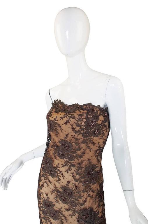 1980s Beaded Lace & Silk John Anthony Strapless Dress 5