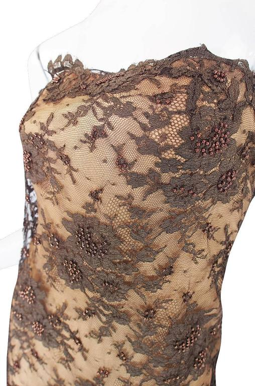 1980s Beaded Lace & Silk John Anthony Strapless Dress 7