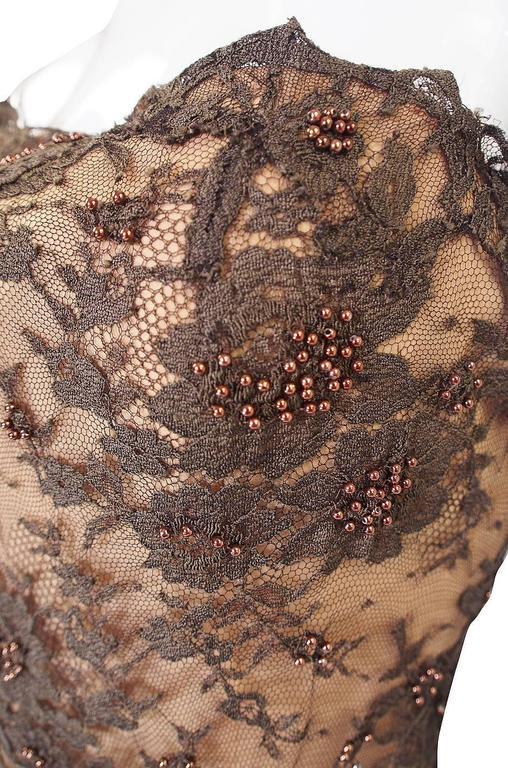 1980s Beaded Lace & Silk John Anthony Strapless Dress 6