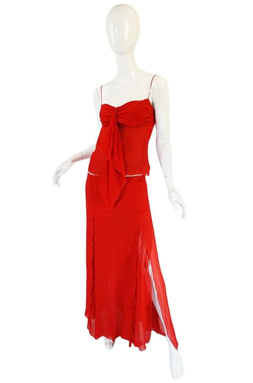 Exquisite 1990s Red Silk Chiffon Valentino Dress Set For Sale 1