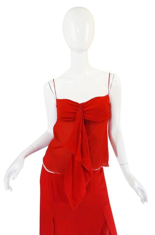 Women's Exquisite 1990s Red Silk Chiffon Valentino Dress Set For Sale
