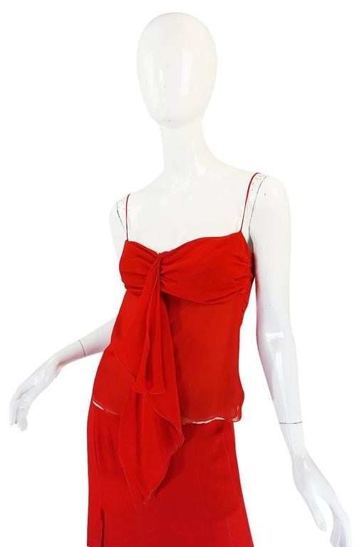 Exquisite 1990s Red Silk Chiffon Valentino Dress Set For Sale 2