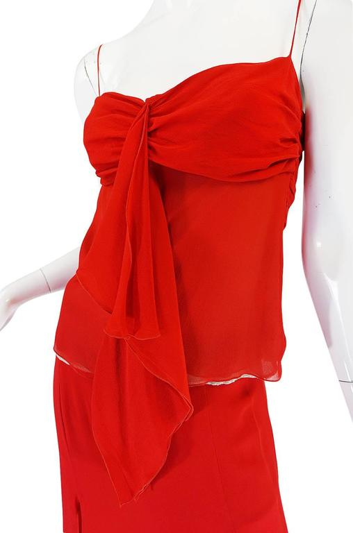 Exquisite 1990s Red Silk Chiffon Valentino Dress Set For Sale 3