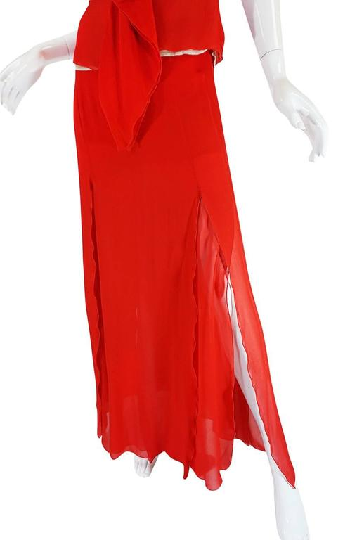Exquisite 1990s Red Silk Chiffon Valentino Dress Set In Excellent Condition For Sale In Toronto, ON