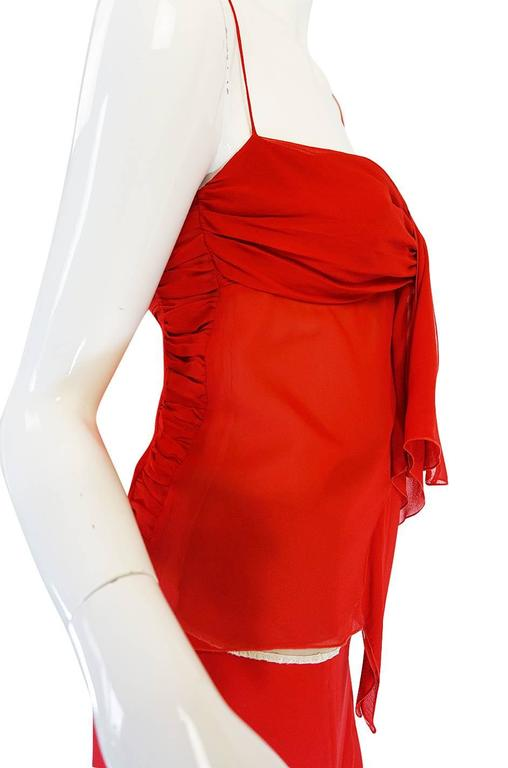 Exquisite 1990s Red Silk Chiffon Valentino Dress Set For Sale 4