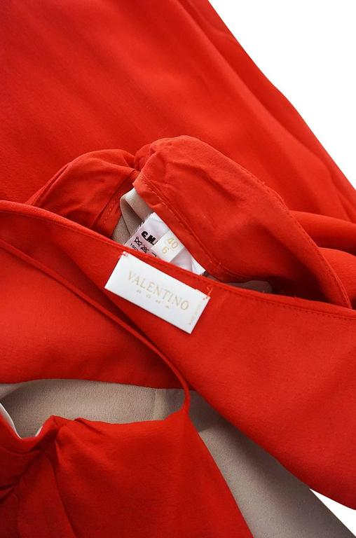 Exquisite 1990s Red Silk Chiffon Valentino Dress Set For Sale 5