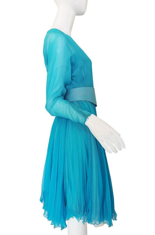 1960s Stunning Blue Silk Chiffon James Galanos Dress 3