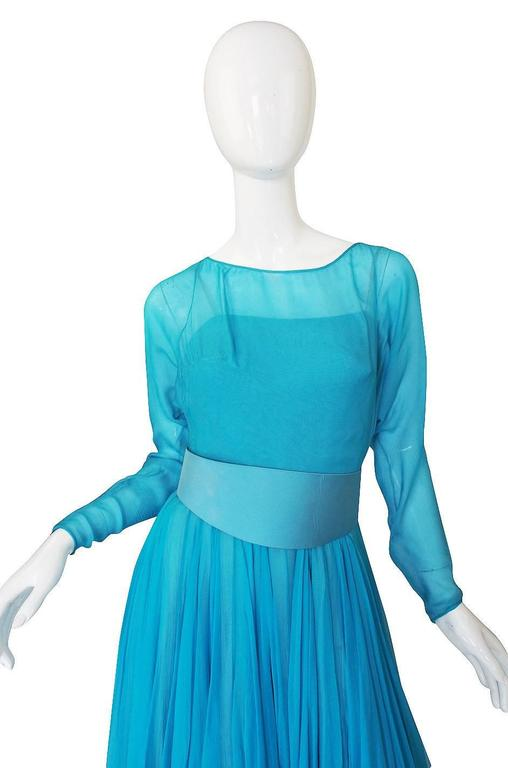 1960s Stunning Blue Silk Chiffon James Galanos Dress 5
