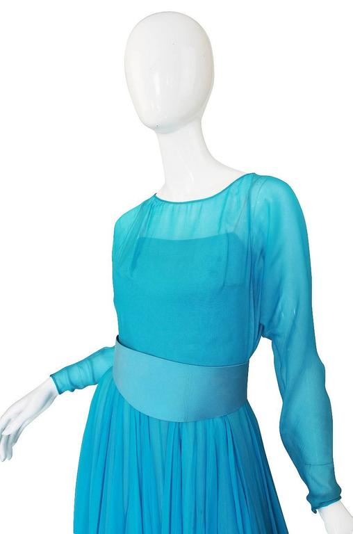 1960s Stunning Blue Silk Chiffon James Galanos Dress 4