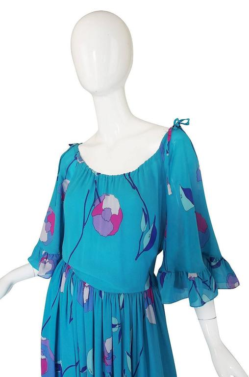 Blue 1970s Off Shoulder Turquoise Silk Chiffon Emilio Pucci Dress For Sale