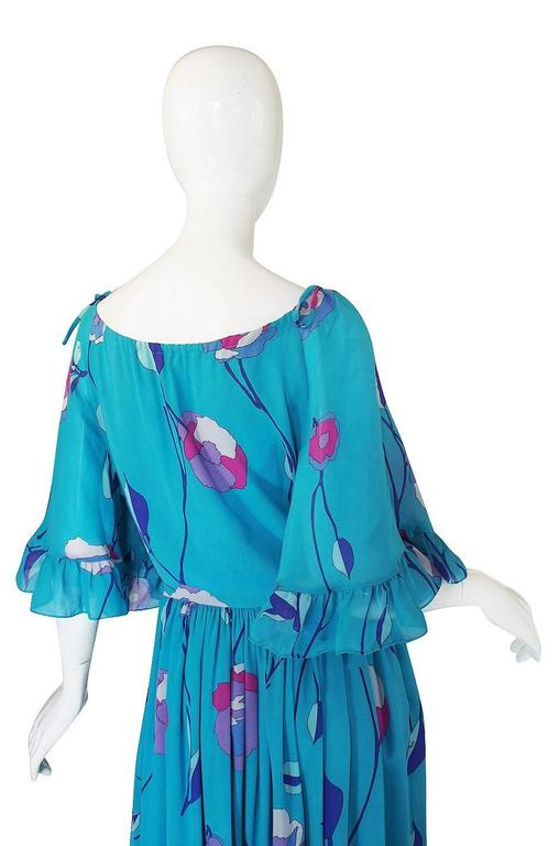 1970s Off Shoulder Turquoise Silk Chiffon Emilio Pucci Dress In Excellent Condition For Sale In Toronto, CA