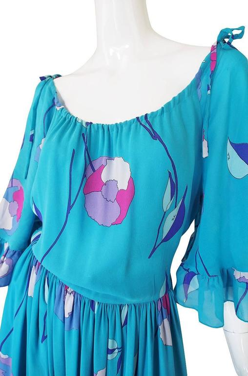 1970s Off Shoulder Turquoise Silk Chiffon Emilio Pucci Dress For Sale 2
