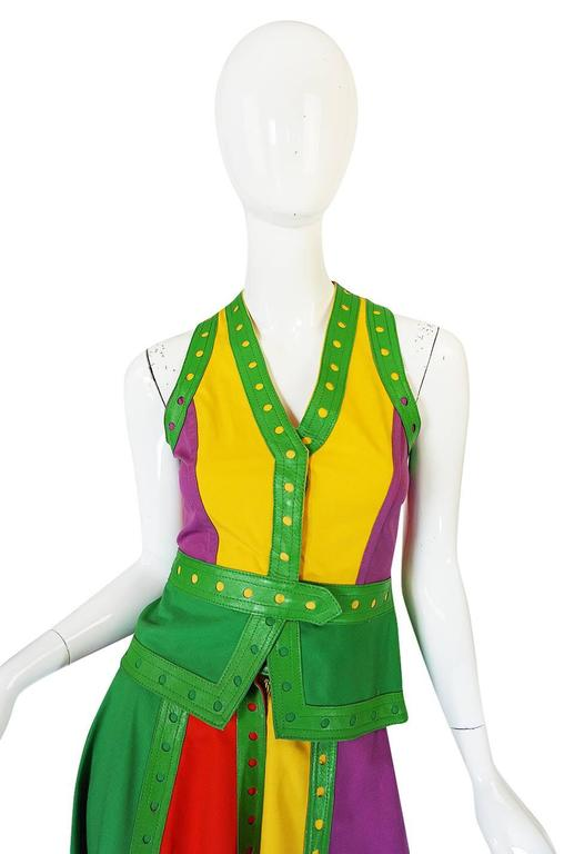 c1974 Giorgio Sant' Angelo Leather Trim Skirt & Vest For Sale 2