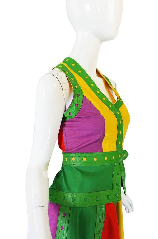 c1974 Giorgio Sant' Angelo Leather Trim Skirt & Vest For Sale 1
