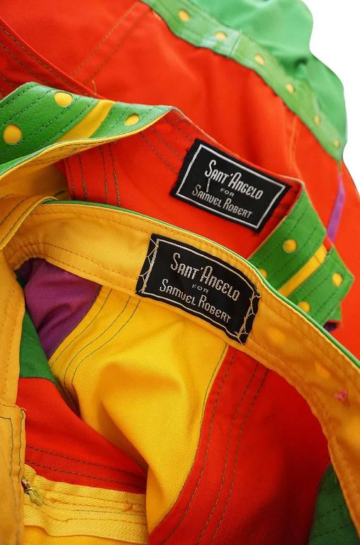 c1974 Giorgio Sant' Angelo Leather Trim Skirt & Vest For Sale 3