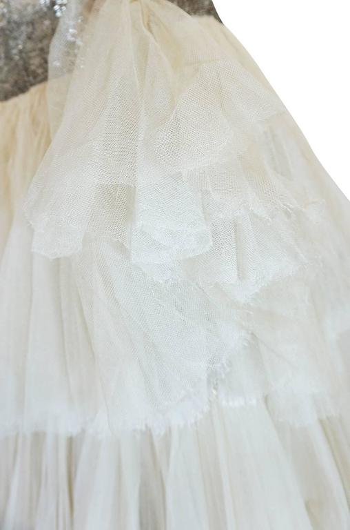 Divine Late 1920s Hand Beaded & Silk Tulle Princess Gown For Sale 3