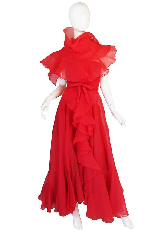 1960s Strapless Ruffled Silk Organza Sarmi Dress In Excellent Condition For Sale In Toronto, CA