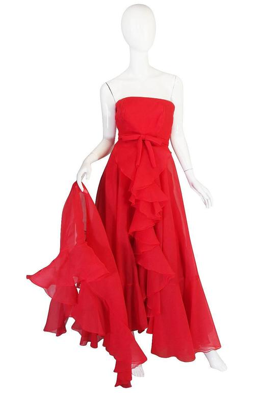 Red 1960s Strapless Ruffled Silk Organza Sarmi Dress For Sale