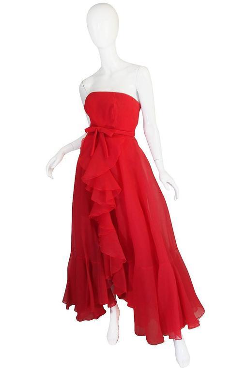 1960s Strapless Ruffled Silk Organza Sarmi Dress 2
