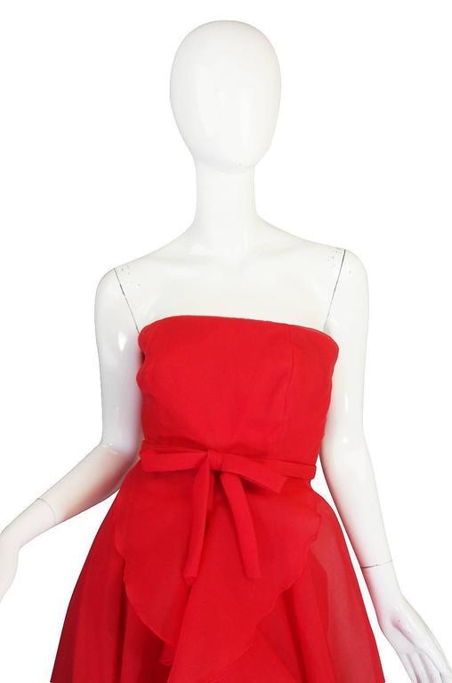 1960s Strapless Ruffled Silk Organza Sarmi Dress 6
