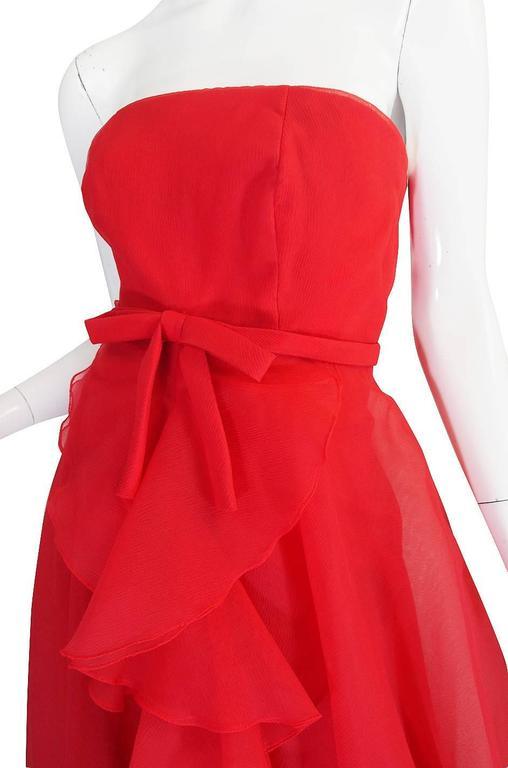 1960s Strapless Ruffled Silk Organza Sarmi Dress 7