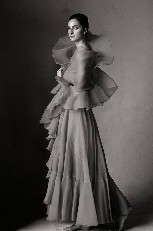 1960s Strapless Ruffled Silk Organza Sarmi Dress 10