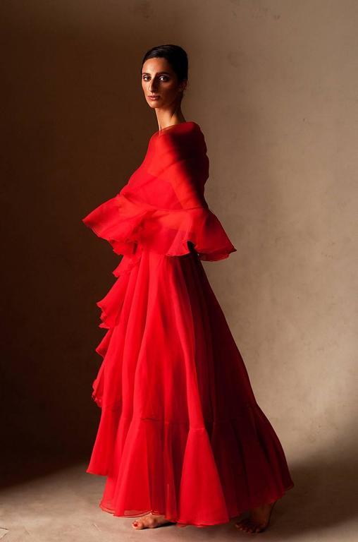 1960s Strapless Ruffled Silk Organza Sarmi Dress 9