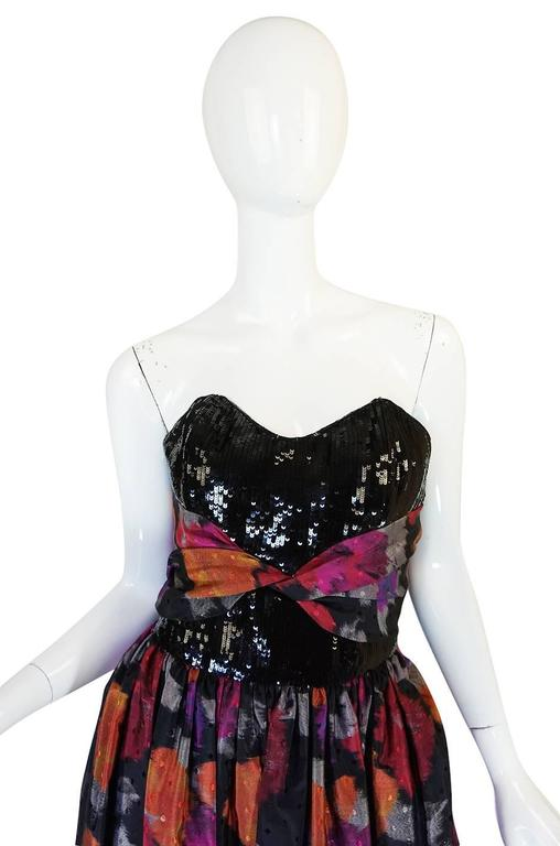 1980s Geoffrey Beene Sequined Silk Dress with Shawl For Sale 3