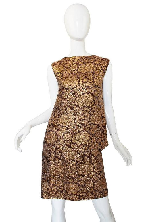 1960s Christian Dior Numbered Gold Silk Brocade Dress Suit For Sale