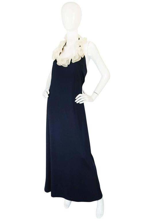 1960s Geoffrey Beene Boutique Navy Jersey Ruffle Dress 3