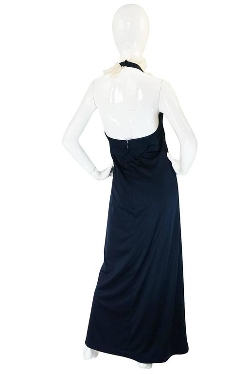 1960s Geoffrey Beene Boutique Navy Jersey Ruffle Dress 2