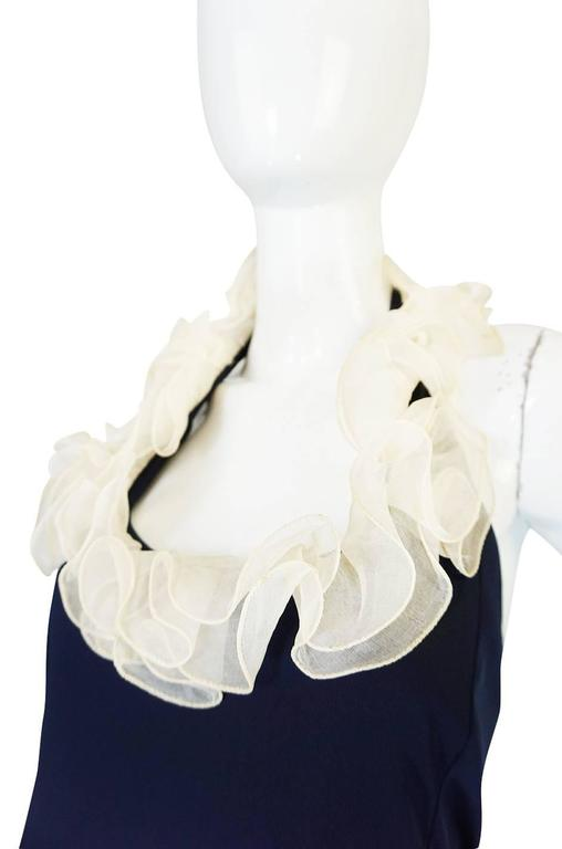 1960s Geoffrey Beene Boutique Navy Jersey Ruffle Dress 6