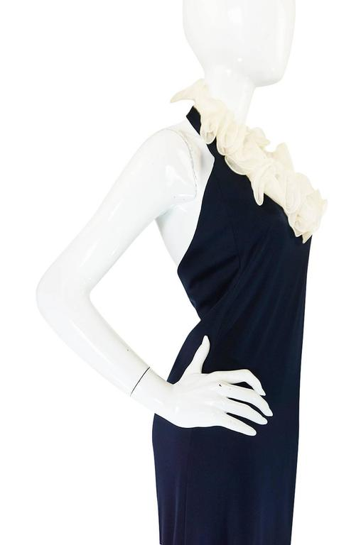 1960s Geoffrey Beene Boutique Navy Jersey Ruffle Dress 7