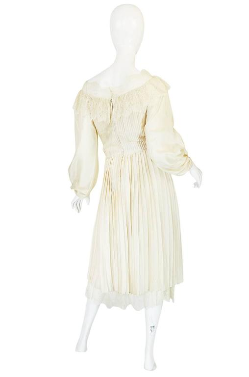 1960s Andre Laug Couture Pleated Cream Silk Dress 2