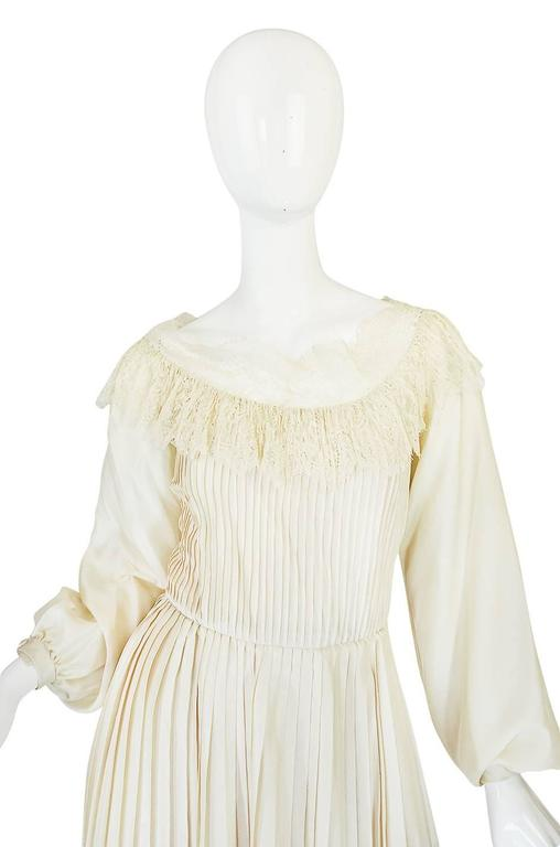 1960s Andre Laug Couture Pleated Cream Silk Dress 3