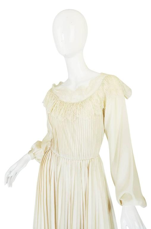 1960s Andre Laug Couture Pleated Cream Silk Dress 4