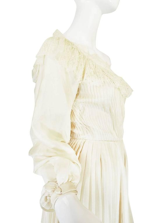 1960s Andre Laug Couture Pleated Cream Silk Dress 5