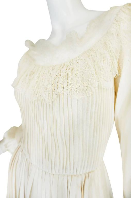 1960s Andre Laug Couture Pleated Cream Silk Dress 6