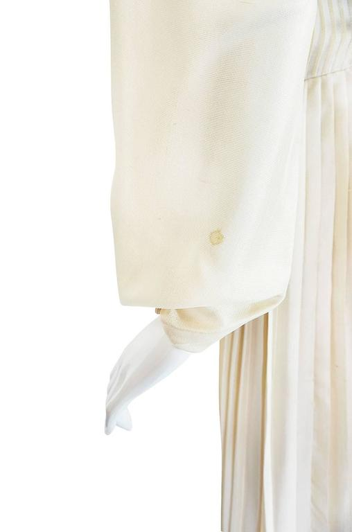 1960s Andre Laug Couture Pleated Cream Silk Dress 8