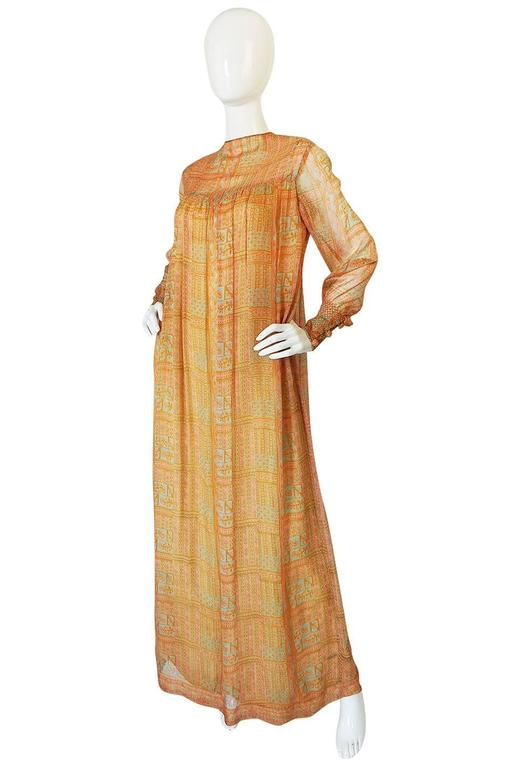 1970s Treacy Lowe Peach Print Silk Chiffon Caftan Dress 3
