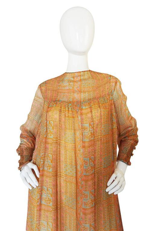 1970s Treacy Lowe Peach Print Silk Chiffon Caftan Dress 5