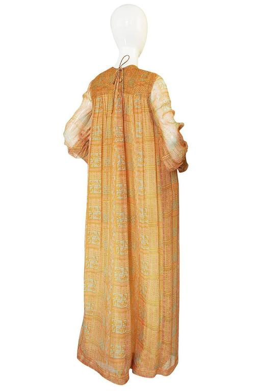 1970s Treacy Lowe Peach Print Silk Chiffon Caftan Dress 2